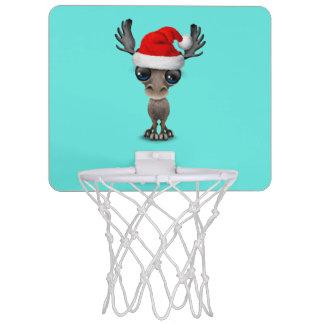 Baby Moose Wearing a Santa Hat Mini Basketball Hoop