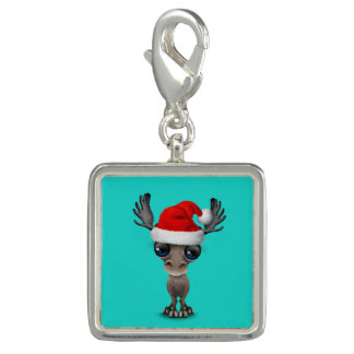 Baby Moose Wearing a Santa Hat Photo Charms