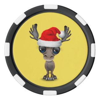 Baby Moose Wearing a Santa Hat Poker Chips