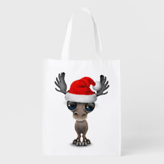 Baby Moose Wearing a Santa Hat Reusable Grocery Bag