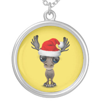Baby Moose Wearing a Santa Hat Silver Plated Necklace