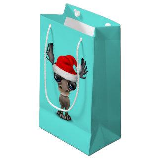 Baby Moose Wearing a Santa Hat Small Gift Bag