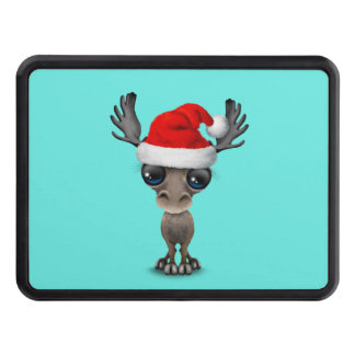 Baby Moose Wearing a Santa Hat Trailer Hitch Cover