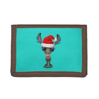Baby Moose Wearing a Santa Hat Trifold Wallet