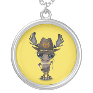 Baby Moose Zombie Hunter Silver Plated Necklace