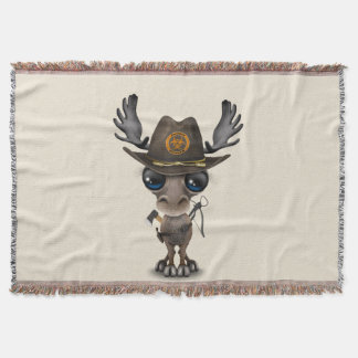 Baby Moose Zombie Hunter Throw Blanket