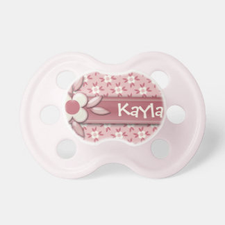 Baby Name DIY It's a Girl Cute Pink Daisy Flower Pacifier