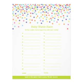Baby Name Race Confetti Baby Shower Game Customized Letterhead
