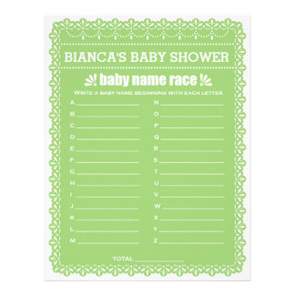 Baby Name Race Green Papel Picado Baby Shower Game Letterhead Template