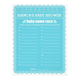 Baby Name RaceBlue Papel Picado Baby Shower Custom Letterhead