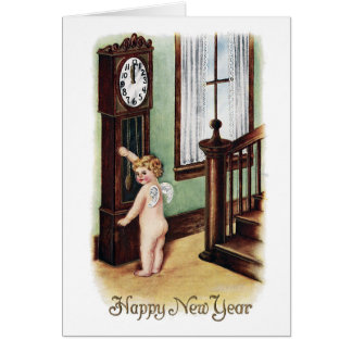 Baby New Year and Grandfather Clock Card