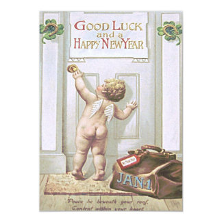 Baby New Year Cherub Angel Four Leaf Clover Card