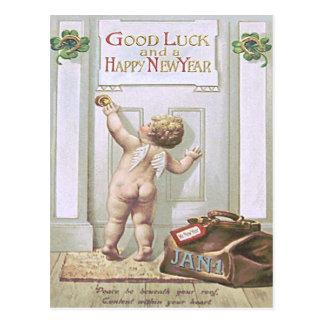 Baby New Year Cherub Angel Four Leaf Clover Postcard