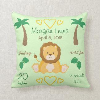 Baby Nursery Lion Safari Theme Birth Stats Green Throw Pillow