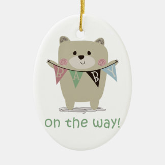 BABY ON THE WAY CERAMIC OVAL ORNAMENT