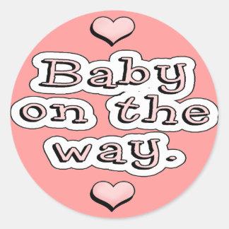 Baby On The Way Round Sticker