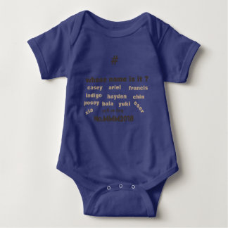 Baby One Piece Bodysuit with Unisex Names on front