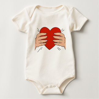 Baby onsies with hands and heart in a middle baby bodysuit