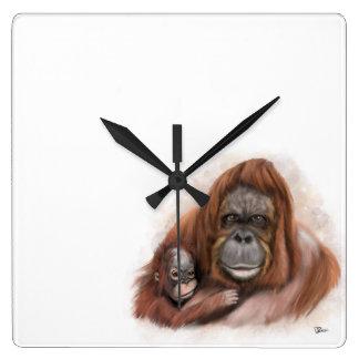 Baby Orang-utan and Mother Wall Clock