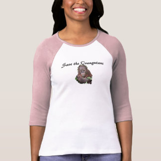 Baby Orangutan Art on pink T-Shirt