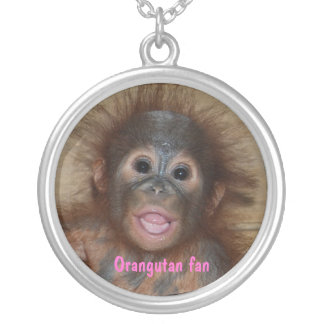 Baby Orangutan in Borneo Silver Plated Necklace