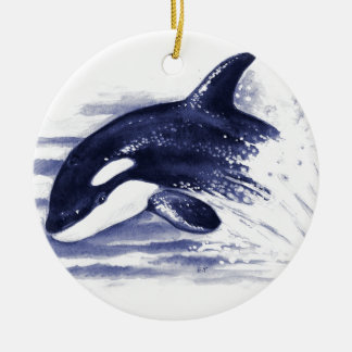 Baby Orca Jump Ceramic Ornament
