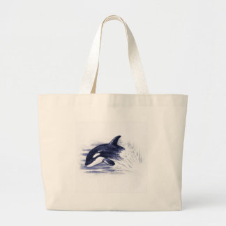 Baby Orca Jump Large Tote Bag