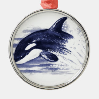 Baby Orca Jump Silver-Colored Round Ornament