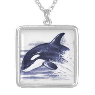 Baby Orca Jump Silver Plated Necklace