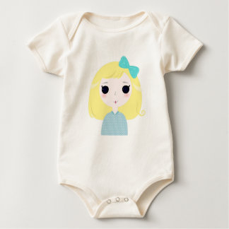 Baby organic body with Blue manga girl Baby Bodysuit