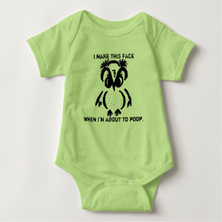 "Baby ""Ornery Owl"" Poop-Face & 'Told you So' Baby Bodysuit"