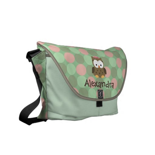 Baby Owl Pink and Green Custom Name Diaper Tote Courier Bag