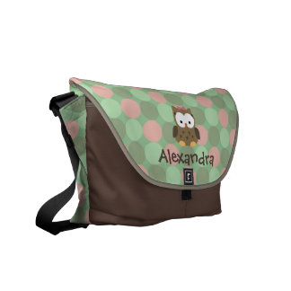 Baby Owl Pink and Green Custom Name Diaper Tote Messenger Bags
