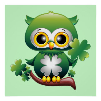 Baby Owl St Patrick Cartoon Poster
