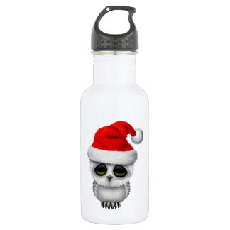 Baby Owl Wearing a Santa Hat 532 Ml Water Bottle
