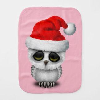 Baby Owl Wearing a Santa Hat Burp Cloth