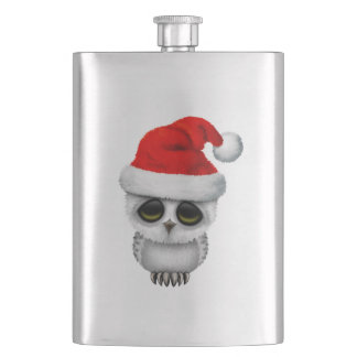 Baby Owl Wearing a Santa Hat Hip Flask