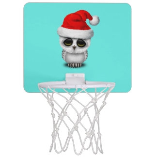 Baby Owl Wearing a Santa Hat Mini Basketball Hoop