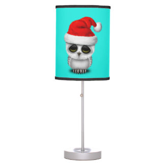 Baby Owl Wearing a Santa Hat Table Lamp