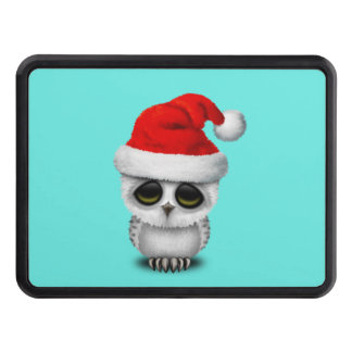 Baby Owl Wearing a Santa Hat Trailer Hitch Cover