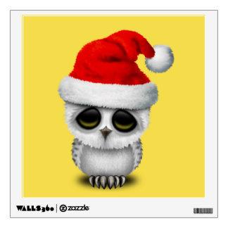 Baby Owl Wearing a Santa Hat Wall Sticker