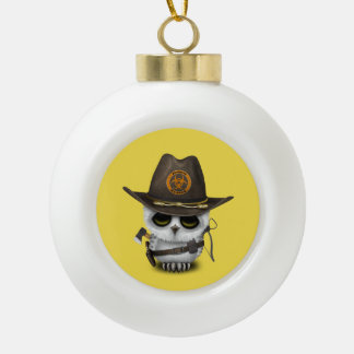 Baby Owl Zombie Hunter Ceramic Ball Christmas Ornament