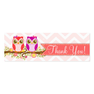 """Baby Owls - Girl Twins Baby Shower """"Thank You"""" Tag Pack Of Skinny Business Cards"""