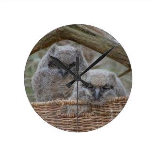 Baby Owls in a Wicker Basket Nest Clock