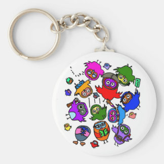 Baby Owls Learning to Fly Basic Round Button Keychain