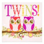 Baby Owls - Twin Girls Shower Invitation