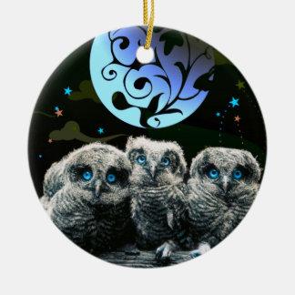 Baby Owls Under The Moonlight Ceramic Ornament