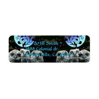Baby Owls Under The Moonlight Return Address Label