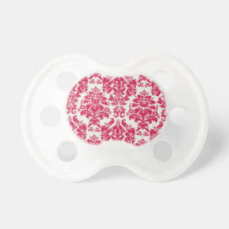 Baby Pacifer-red and white damask Baby Pacifier
