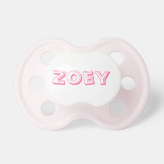 Baby Pacifier with the name Zoey